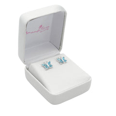 Swiss Blue Topaz  Butterfly Stud Earrings set in Sterling Silver