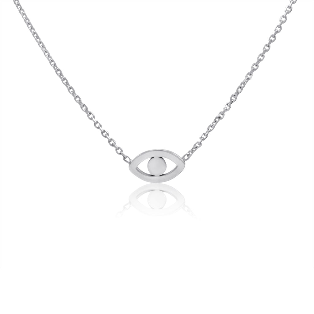 Amanda Rose 14k White Gold Evil Eye Necklace on a 16-18 in. Adjustable Chain