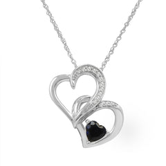Heart Pendant-Necklace in Sterling Silver with Lab Created Sapphire and Natural Diamonds