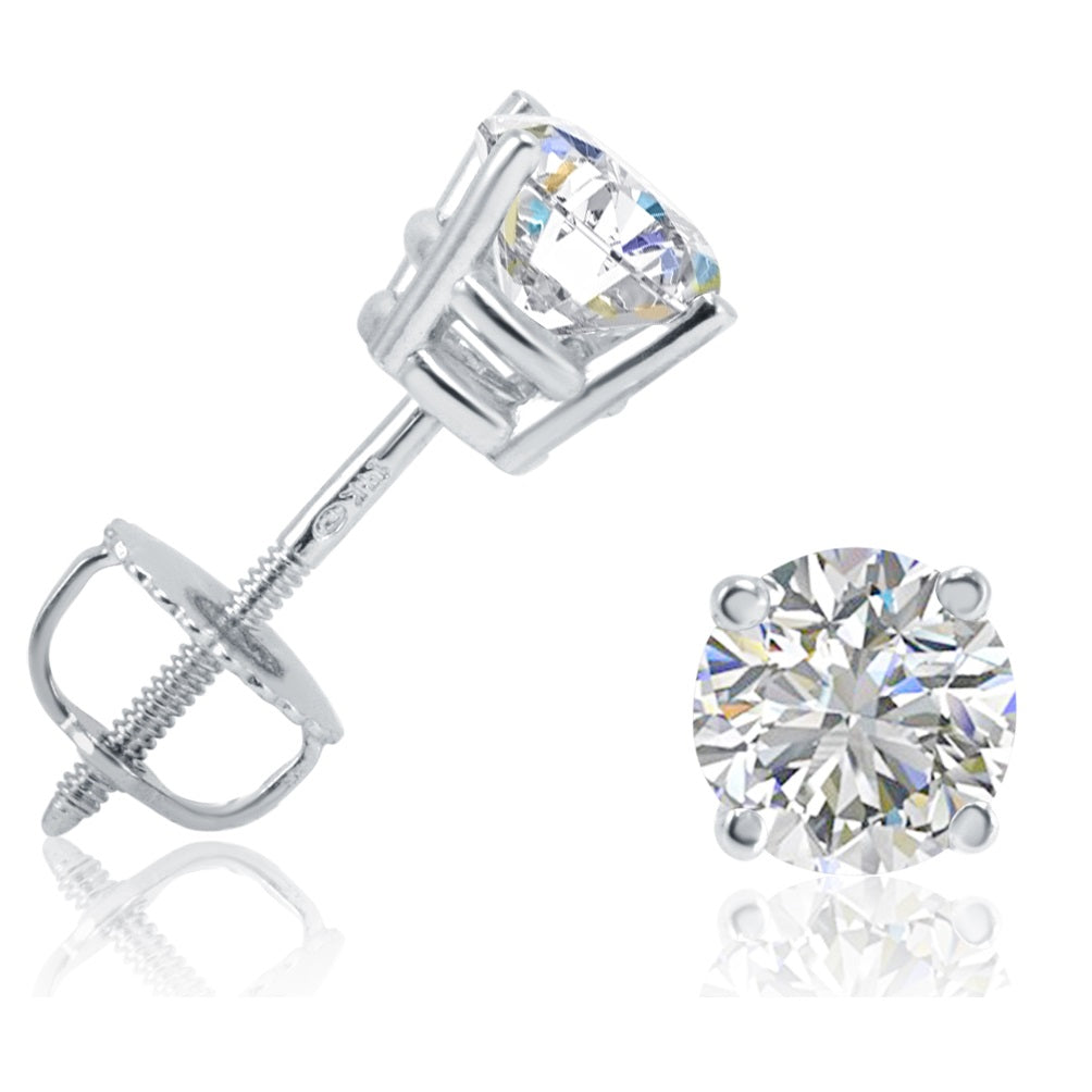 AGS Certified 1ct TW Round Diamond Solitaire Stud Earrings in 14K Gold with Screw Backs