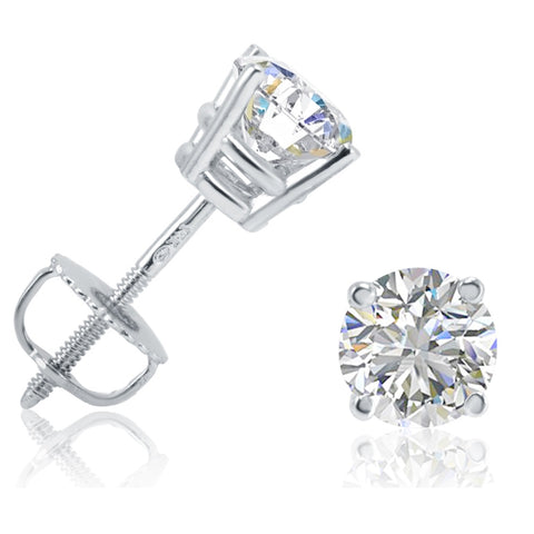 AGS Certified 1ct TW Round (SI2-I1) Diamond Stud Earrings in 14K White Gold