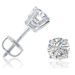 AGS Certified 1ct TW Round Diamond Stud Earrings in 14K White Gold with Screw Backs