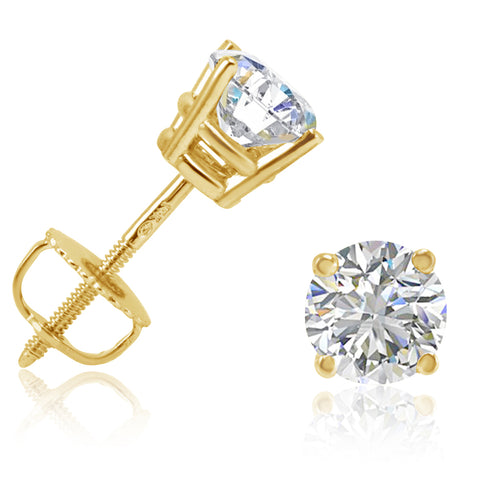 AGS Certified 1cttw Diamond Stud Earrings in 14K Yellow Gold with Screw Backs