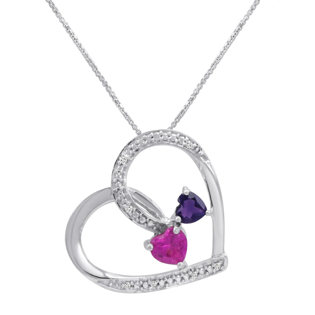 Created Pink Sapphire with Natural Amethyst and Diamond Double Heart Pendant Necklace