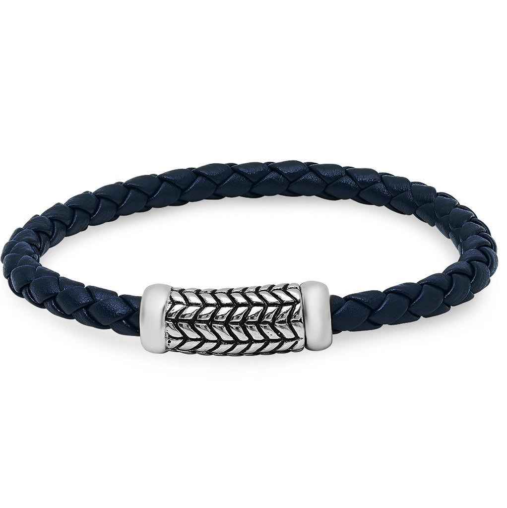 Braided Navy Blue Leather Bracelet with Magnetic Stainless Steel Clasp ( 8 3/4 inches)