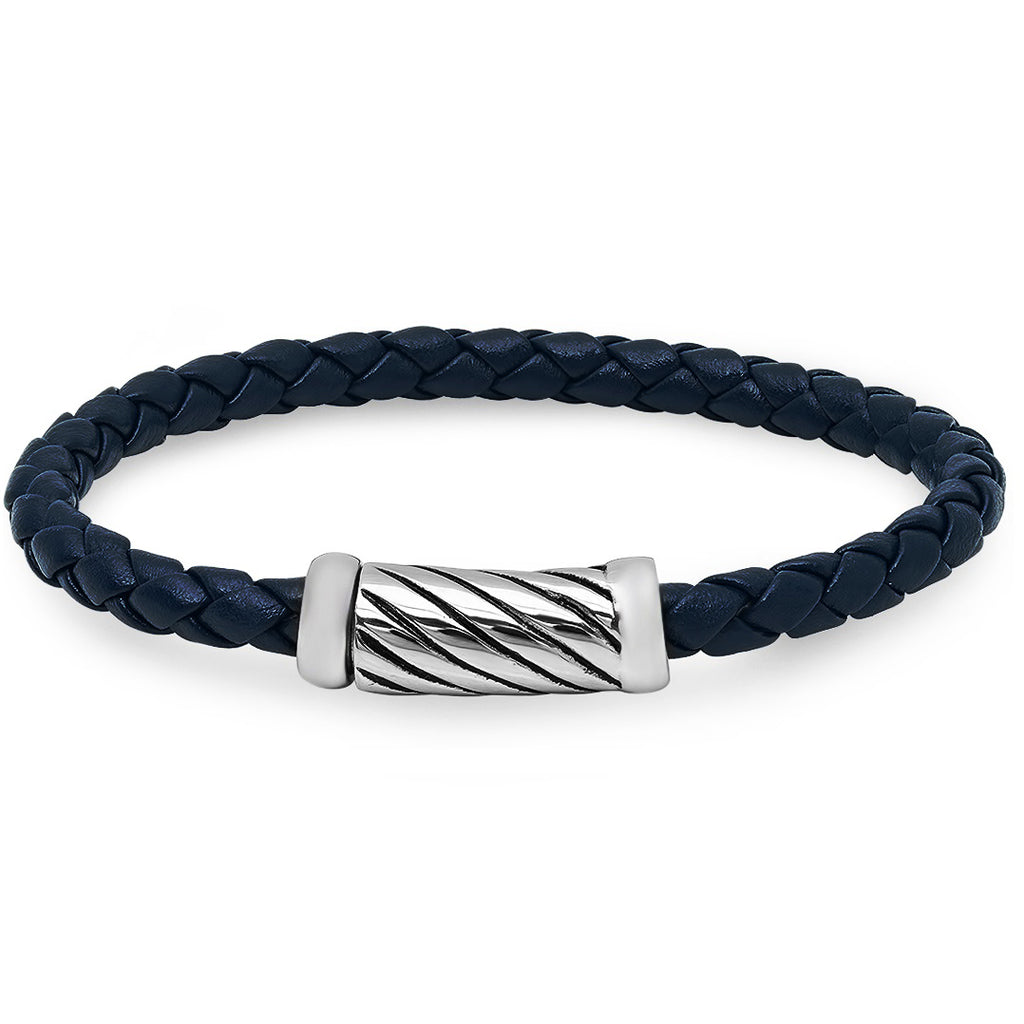 Braided Navy Leather Bracelet with Magnetic Stainless Steel Clasp ( 8 3/4 inches)