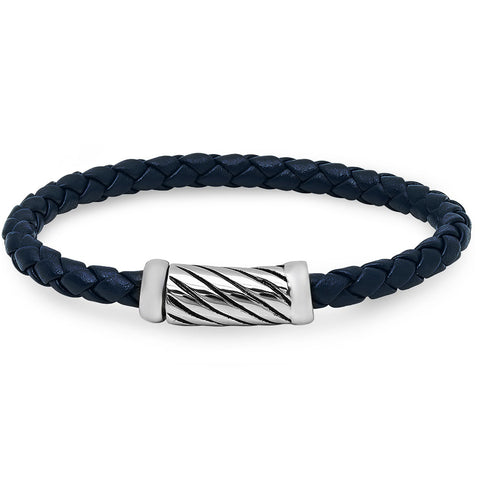 Braided Navy Leather Bracelet with Magnetic Stainless Steel Clasp ( 8 1/2 inches)