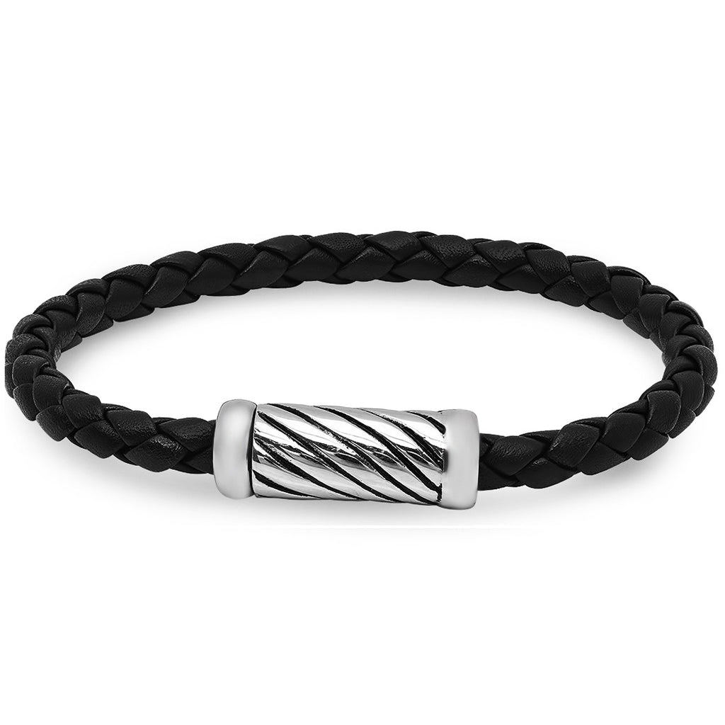 Braided Black Leather Bracelet with Magnetic Stainless Steel Clasp ( 8 3/4 inches)