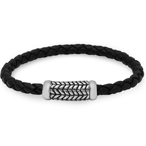Braided Black Leather Bracelet with Magnetic Stainless Steel Clasp ( 8 1/2 inches)