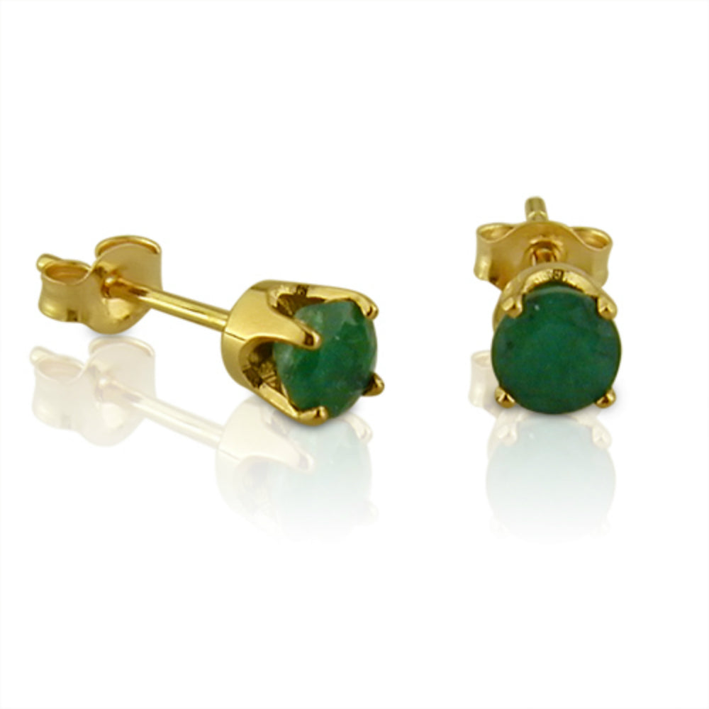4mm Round Emerald Stud Earrings in 14K Yellow Gold 1/2 cttw , Earrings - MLG Jewelry, MLG Jewelry  - 1