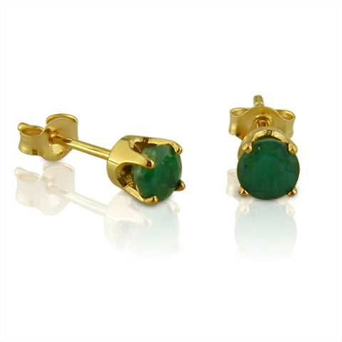 4mm Round Emerald Stud Earrings in 14K Yellow Gold 1/2 cttw
