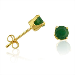 4mm Round Emerald Stud Earrings in 14K Yellow Gold 1/2 cttw , Earrings - MLG Jewelry, MLG Jewelry  - 2