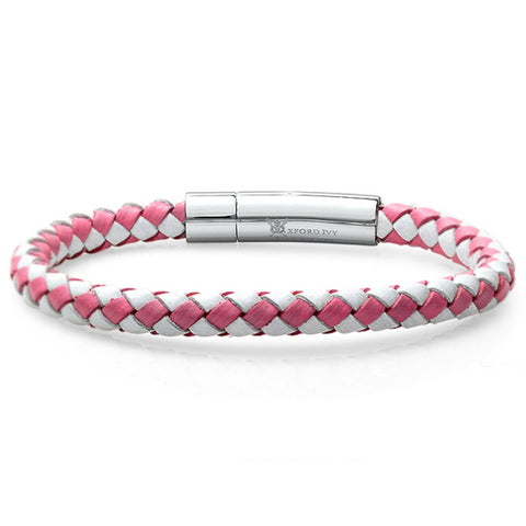Braided Pink and White Leather 6mm Bracelet with Stainless Steel Locking Clasp 7 1/2 inches