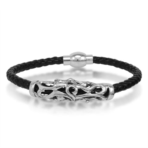 Oxford Ivy  Braided Black Leather Mens Bracelet 5 mm 8 1/2 inches with Magnetic Stainless Steel Clasp