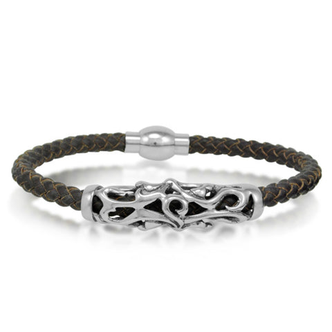 Oxford Ivy  Braided Brown Leather Mens Bracelet 5 mm 8 1/2 inches with Magnetic Stainless Steel Clasp