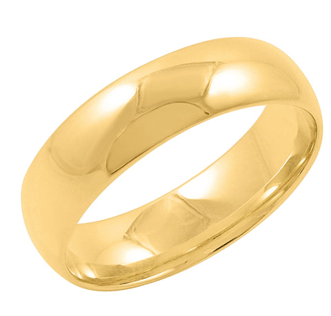 Men's 10K Yellow Gold 6mm Comfort Fit Plain Wedding Band  (Available Ring Sizes 8-12 1/2)