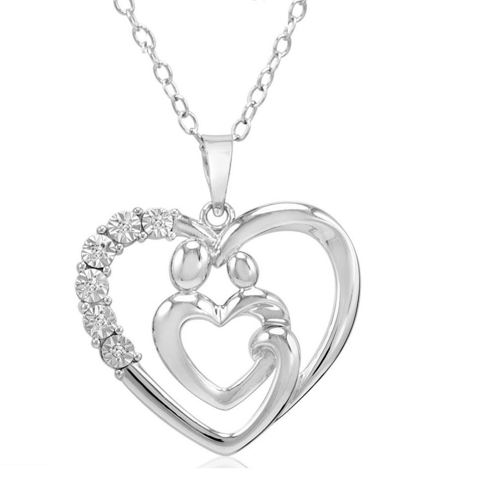 Sterling Silver Mother and Child Diamond Heart Pendant-Necklace on an 18 inch Chain , Pendants - MLG Jewelry, MLG Jewelry  - 1