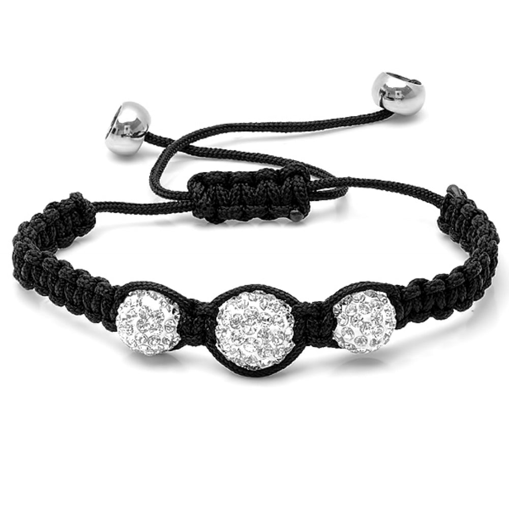 Graduated 10-12mm Triple Crystal Disco Ball Shamballa Bracelet Adjustable from 6 to 9 inches , Bracelets - MLG Jewelry, MLG Jewelry