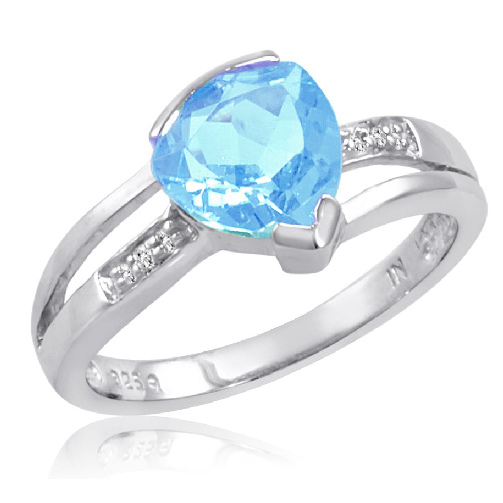 Sterling Silver Trillion Cut Sky Blue Topaz and Diamond Ring (2ct tgw  Sizes 5-8)