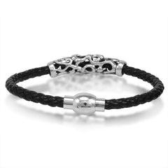 Oxford Ivy  Braided Black Leather Mens Bracelet 5 mm 8 1/2 inches with Magnetic Stainless Steel Clasp , Bracelets - MLG Jewelry, MLG Jewelry  - 2