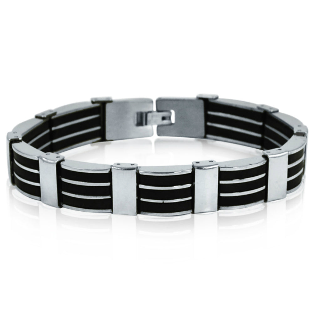 Men's Stainless Steel 3-Row Black Rubber Bracelet 8 1/4 inches , Bracelets - MLG Jewelry, MLG Jewelry  - 1