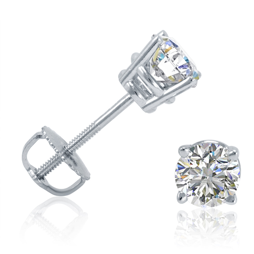 1/2ct tw Round Diamond Stud Earrings set in 14K White Gold with Screw-Backs , Earrings - MLG Jewelry, MLG Jewelry  - 1