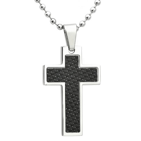 Mens Stainless Steel and Black Cross Pendant-Nacklace on a 24in Chain