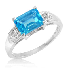 Sterling Silver Emerald Cut Swiss Blue Topaz and Diamond Ring (2ct tgw  Sizes 5-8)