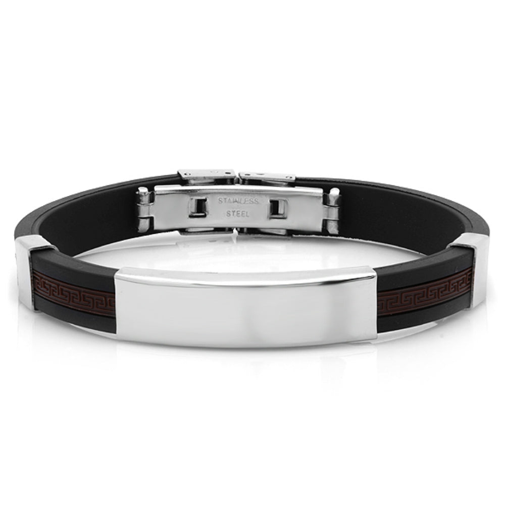 Mens 8 1/2 inch Black and Brown Rubber and Stainless Steel Bracelet