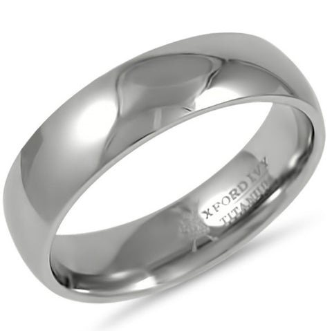 6mm Mens Comfort Fit Titanium Plain Wedding Band ( Available Ring Sizes 7-12 1/2)