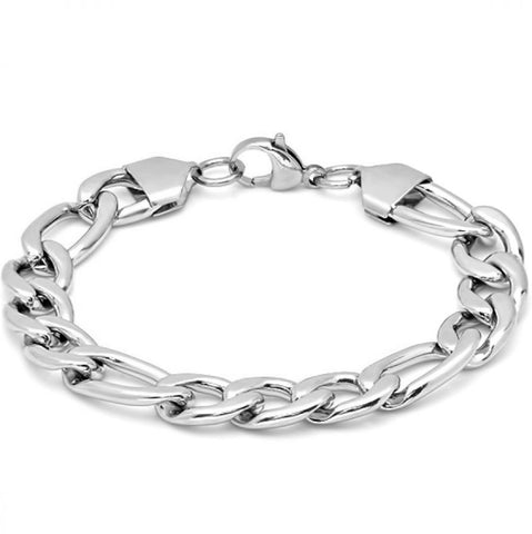 Men's Stainless Steel Figaro Chain Link Bracelet  8 1/2 inch