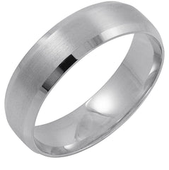 Men's 14K White Gold 6MM Comfort Fit Beveled Edge Wedding Band (Available Ring Sizes 8-12 1/2)