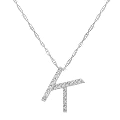 "14K White Gold Diamond ""K"" Initial Pendant, 16"" Necklace"