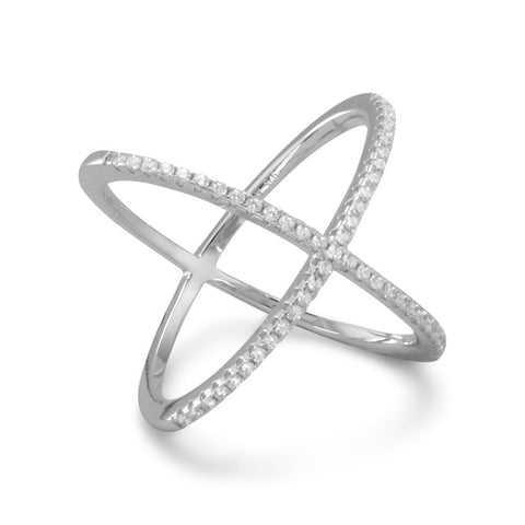 Amanda Rose Rhodium Plated Criss Cross Cubic Zirconia 'X' Ring in Sterling Silver (Available sizes 5-9)