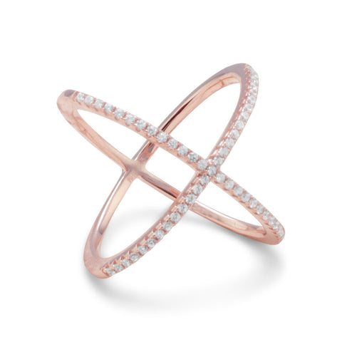 Amanda Rose 18 Karat Rose Gold Plated Criss Cross Cubic Zirconia 'X' Ring in Sterling Silver (Available sizes 5-9)