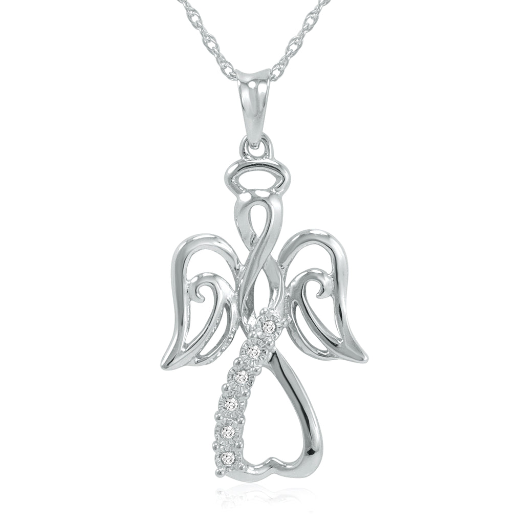 "Winged Angel Open Heart Diamond Pendant-Necklace in Sterling Silver 18"" Chain"