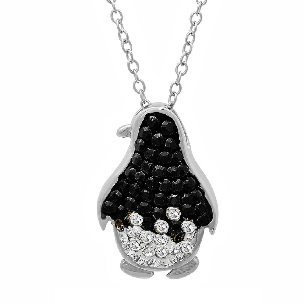 Black and White Penguin Pendant-Necklace made with Swarovski Crystals , Gifts Under $99 - MLG Jewelry, MLG Jewelry  - 1
