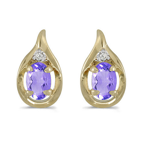 14K Yellow Gold Oval Tanzanite and Diamond Earrings (3/4ctgw)