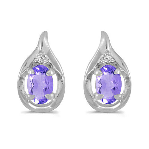 14K White Gold Oval Tanzanite and Diamond Earrings (3/4ctgw) , Earrings - MLG Jewelry, MLG Jewelry