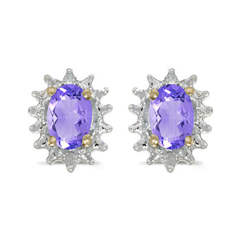 14K Yellow Gold Oval Tanzanite and Diamond Earrings (3/4ct tgw)