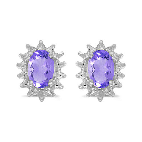 14K White Gold Oval Tanzanite and Diamond Earrings (3/4ct tgw)