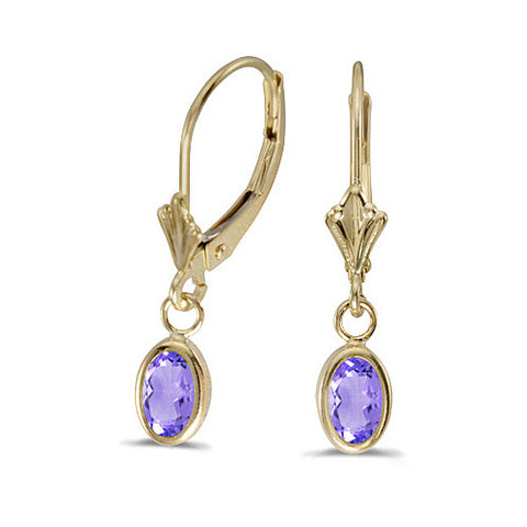 14K Yellow Gold Oval Tanzanite Bezel Lever-back Earrings (3/4ct TGW)