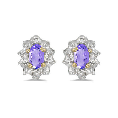 14K Yellow Gold Oval Tanzanite and Diamond Earrings (1/2ct tgw) , Earrings - MLG Jewelry, MLG Jewelry