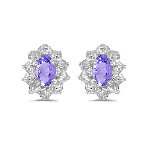 14K White Gold Oval Tanzanite and Diamond Earrings (1/2ct tgw) , Earrings - MLG Jewelry, MLG Jewelry