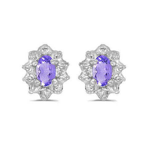 14K White Gold Oval Tanzanite and Diamond Earrings (1/2ct tgw)