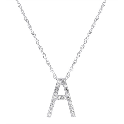 "14K White Gold Diamond ""A"" Initial Pendant, 16"" Necklace"