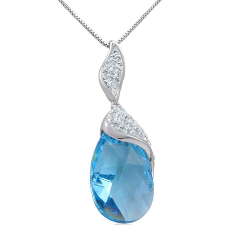 Sterling Silver Aqua Blue Crystal Tear Drop Pendant-Necklace with Swarovski Crystals