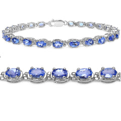 6ct tw Tanzanite Tennis Bracelet in Sterling Silver 7 1/4 inches , Bracelets - MLG Jewelry, MLG Jewelry  - 1