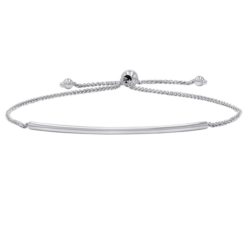 Amanda Rose Bar Bolo Bracelet in 14k White Gold (Adjustable)