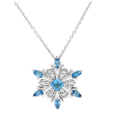 925 Sterling Silver Blue and White Topaz Snowflake Necklace